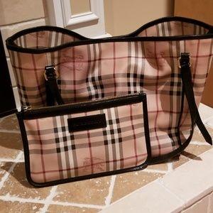 00da060a7a6f Burberry. Authentic Burberry Haymarket Tote Bag